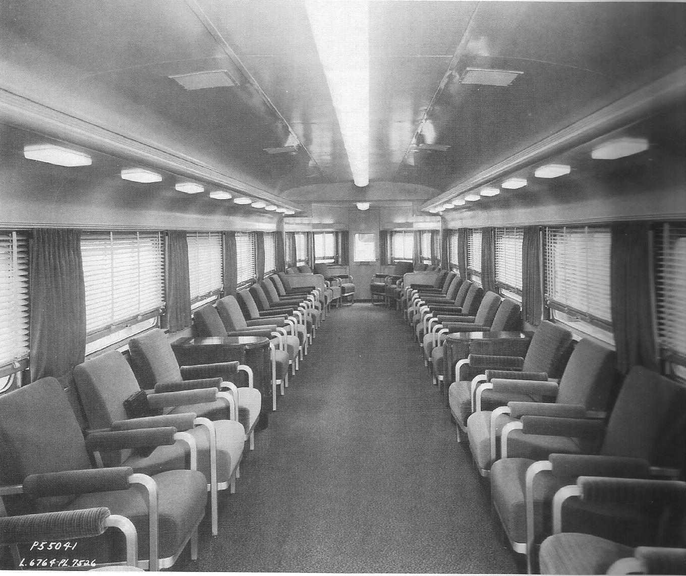 rock island parlor observation car interior late 30s early 40s streamliner memories. Black Bedroom Furniture Sets. Home Design Ideas